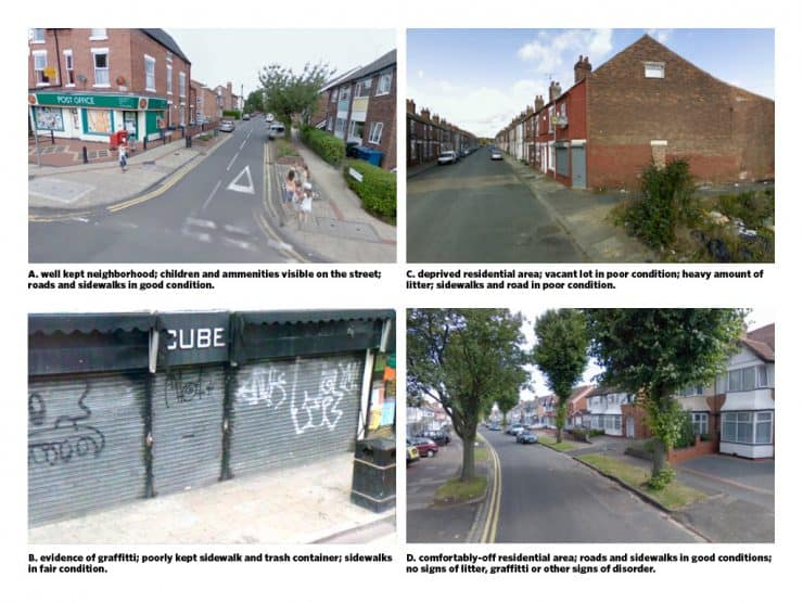 Odgers, et al. 2012. Systematic social observation of children's neighborhoods using Google Street View: a reliable and cost-effective method. Figure 2, Google Street View Images