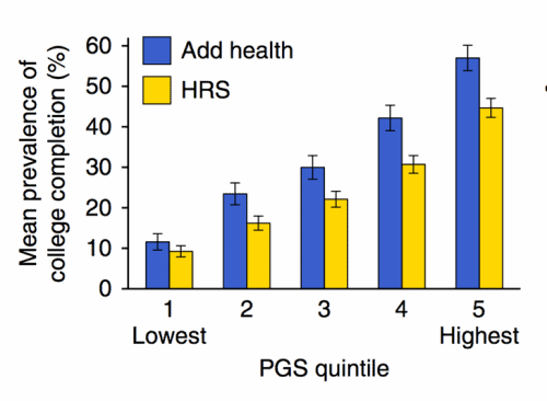 Figure C. From Lee et al., 2018, Nature Genetics. Mean prevalence of college completion by polygenic score quintile. Data are mean±95% confidence interval.